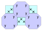 Tessellations using two types of polygons.